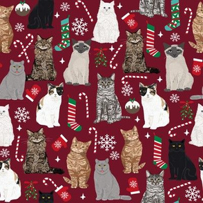 Cats Christmas fabric holiday xmas mistletoe stocking candy cane ornaments