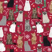 Cats Christmas fabric holiday xmas mistletoe stocking candy cane ornaments