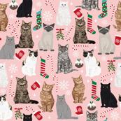 Cat Christmas fabric snowflake winter xmas stocking