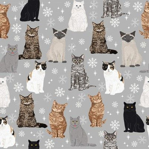 Christmas winter cat lady fabric snowflakes holiday theme