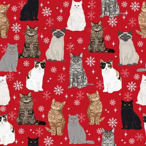 christmas winter cat snow snowflake fabric