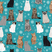 snowflake cat fabric winter holidays christmas cats