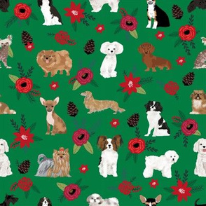 christmas dog florals poinsettias cute dogs best dog florals fabric holiday