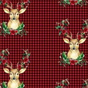 Winter Deer - Red Plaid