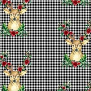 Winter Deer - Black and White Plaid
