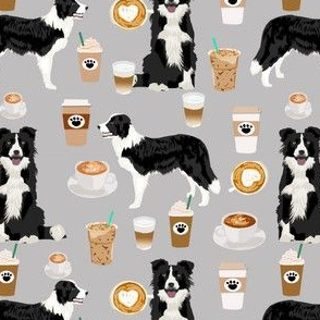 border collies and coffees prints cute dogs design best dog border collies herding dog fabric border collie fabric dog fabric quilting fabric dog design