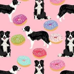 border collies cute pink donuts fabric best dog quilting fabric cute border collies fabric best border collie designs