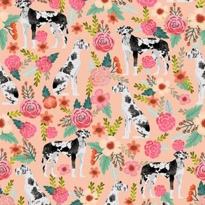 great danes florals fabric cute dog fabric best dog floral fabric les fleurs dogs fabric cute great dane design quilting dogs fabric cute quilting fabric