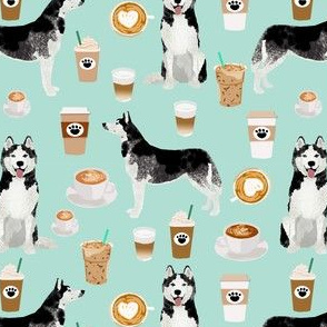husky coffee fabric cute coffees dog fabric best dogs huskies fabrics cute dog design