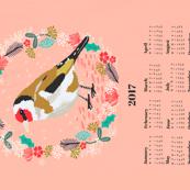 2017 goldfinch tea towel calendar bird design british garden birds by andrea lauren