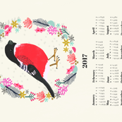 2017 bullfinch calendar birds garden songbird by andrea lauren tea towel calendar