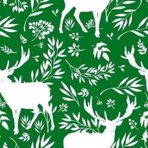 Deer Silhouette in Green