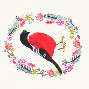 Roostery Tea Towel - Bullfinch bird garden song bird backyard birds cute holiday tea towel