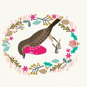 Roostery Tea Towel - European  Robin cute backyard songbird best tea towels cut and sew roostery tea towel by andrea lauren