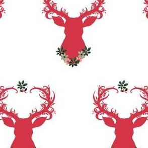 Red Fancy Floral Deer