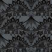 Stegosaurus Lace - Black / Grey