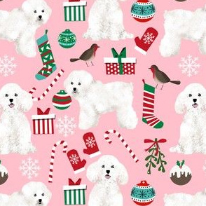 bichon frise dogs fabric cute dogs design for dog lovers cute dog fabric print bichon christmas