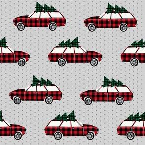 christmas wagon plaid christmas trees christmas fabric vintage retro christmas cars christmas trees on cars