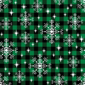 buffalo plaid snowflakes cabin winter outdoors green plaid winter outdoors fabric