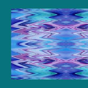 Oscillating Chevrons - large - aqua, blue and maroon - crosswise grain