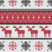 fair isle moose (red) || winter knits