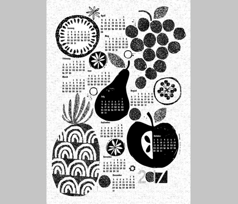 2017 More fruit tea towel calendar-b&w