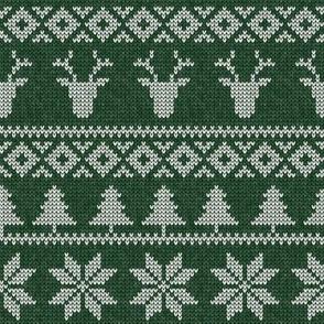 fair isle deer (green) || snowflake || winter knits