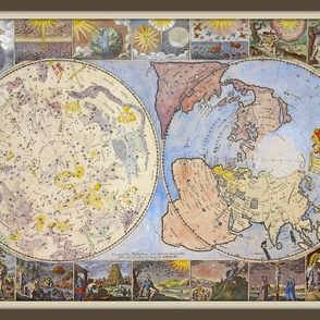Heavens and Earth World Map, vintage, FQ