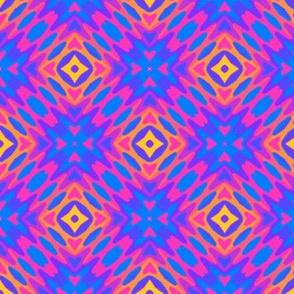 Tribal Print, Orange-Blue