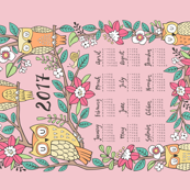 2017 Owls & Flowers Tea Towel Calendar Pink