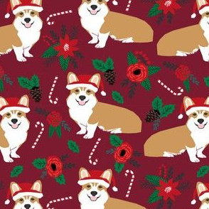 corgis poinsettia dogs fabric cute christmas florals fabric cute dogs christmas fabric