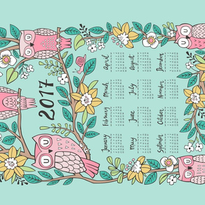 2017 Owls & Flowers Tea Towel Calendar  Green Mint