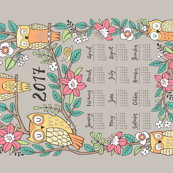 2017 Owls & Flowers Tea Towel Calendar Pink Brown Grey