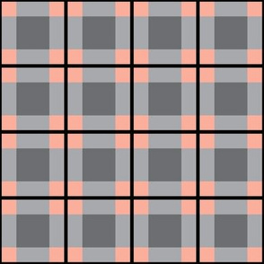 Light Grey and Coral Plaid