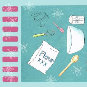 Baking Time Tea Towel blue teal raspberry
