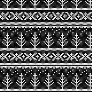 fair isle - tree (black) || winter knits