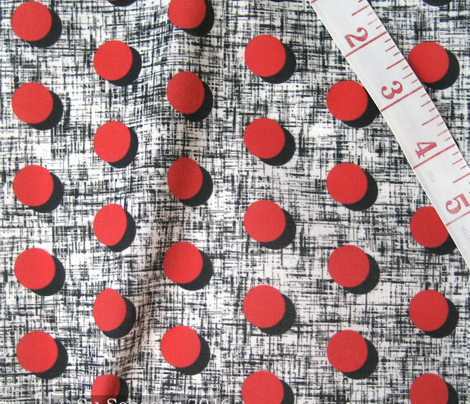 UK black shadowed red moons on tweedy black + white by Su_G