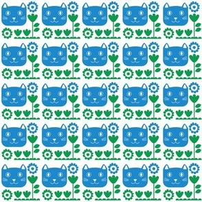 cat garden blue
