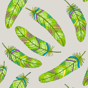 Green flowery feathers