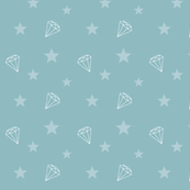 Diamonds and Stars teal