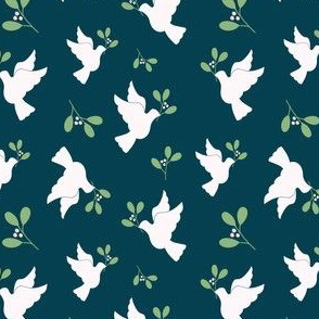 Doves in Navy and Green