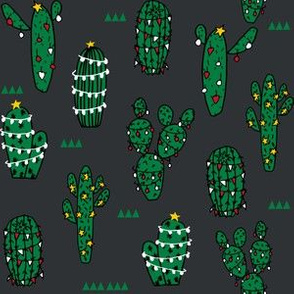 christmas cactus // cute christmas xmas holiday cactus fabrics christmas cactus cute christmas fabrics