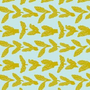 Seaweed Chevron, ochre on pale blue-grey