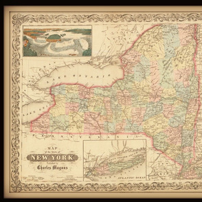 New York state map, vintage, FQ