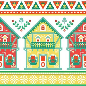 colorful chalets wrapping paper