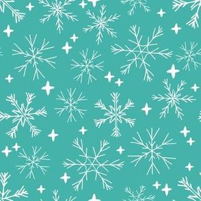 winter snowflakes // aqua turquoise snowflake design cute snowflake fabric best holiday fabrics cute christmas patterns and prints andrea lauren andrea lauren fabric