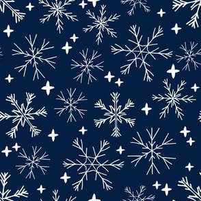 winter snowflakes // navy blue dark blue snowflake pattern snowflake fabric cute snowflakes best xmas holiday christmas design andrea lauren fabric
