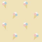 Ice cream on yellow