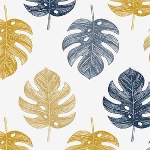 Golden monstera leaves