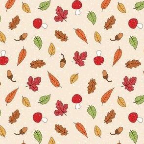 Autumn Woodland Leaves - Ditsy Cream coloured